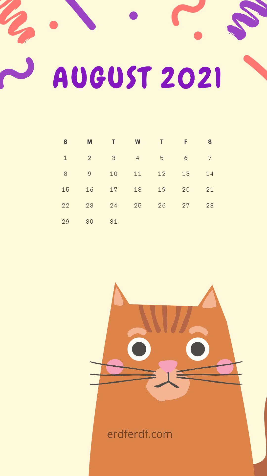 August 2021 Callendar Wallpaper Iphone Cat Cute Brown Cat