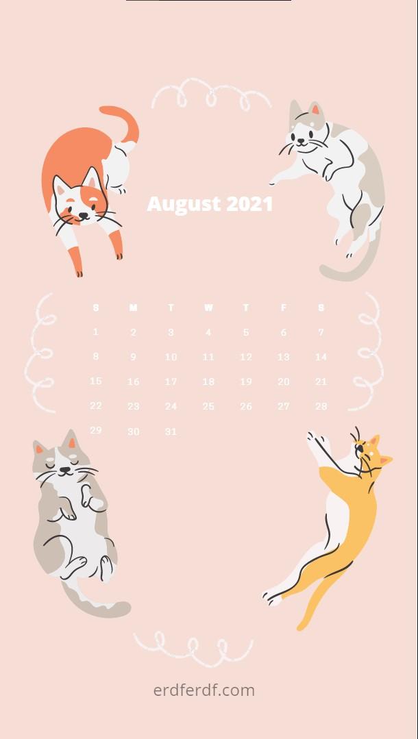 August 2021 Callendar Wallpaper Iphone Cat Cute