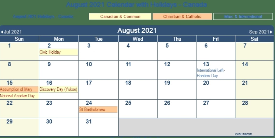 August 2021 Callendar With Holiday Canada