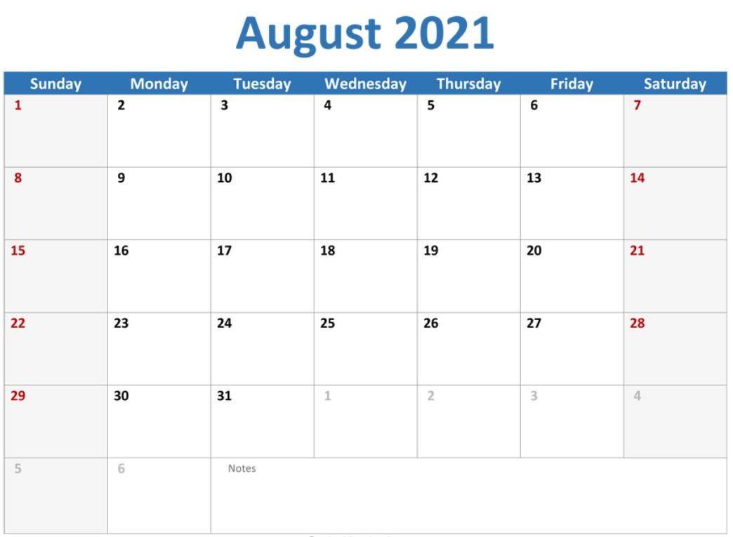 August 2021 Callendar With Holiday With Blue Header