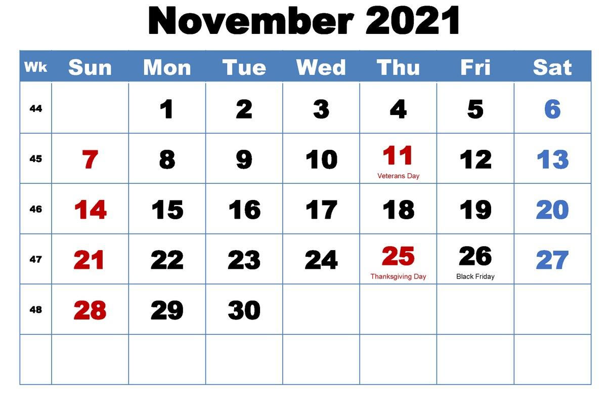 Blank November 2021 Calendar With Holiday