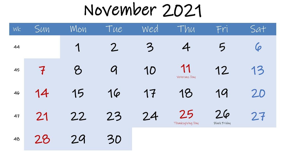 Blue Calendar 2021 November With Holiday