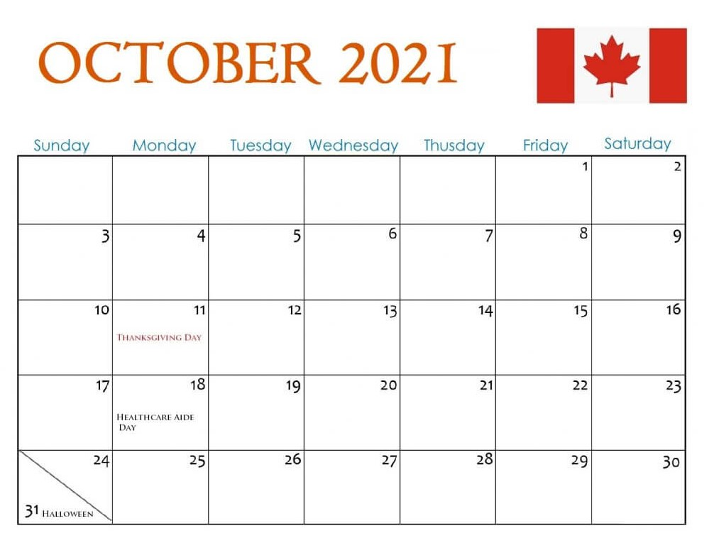Complete October 2021 Calendar With Holiday Canada