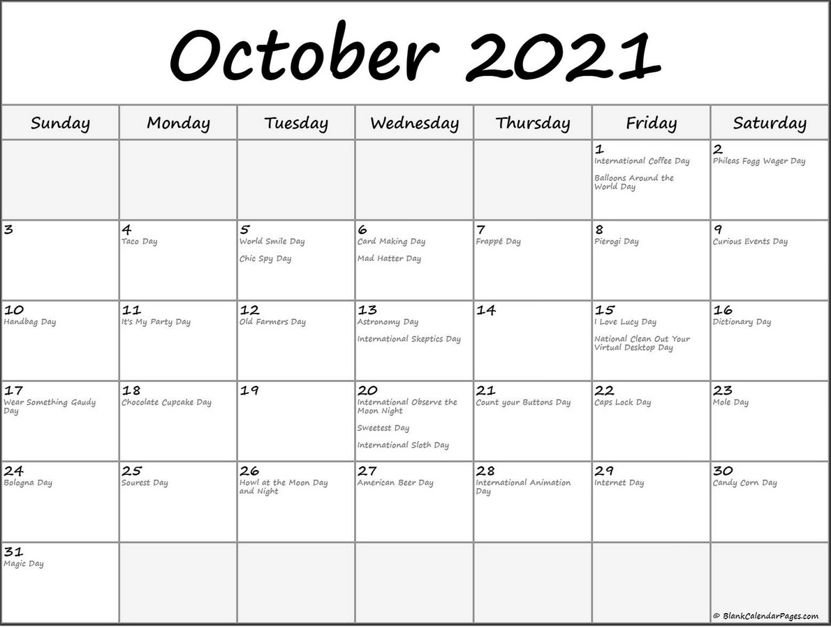 Complete October 2021 Calendar With Holiday