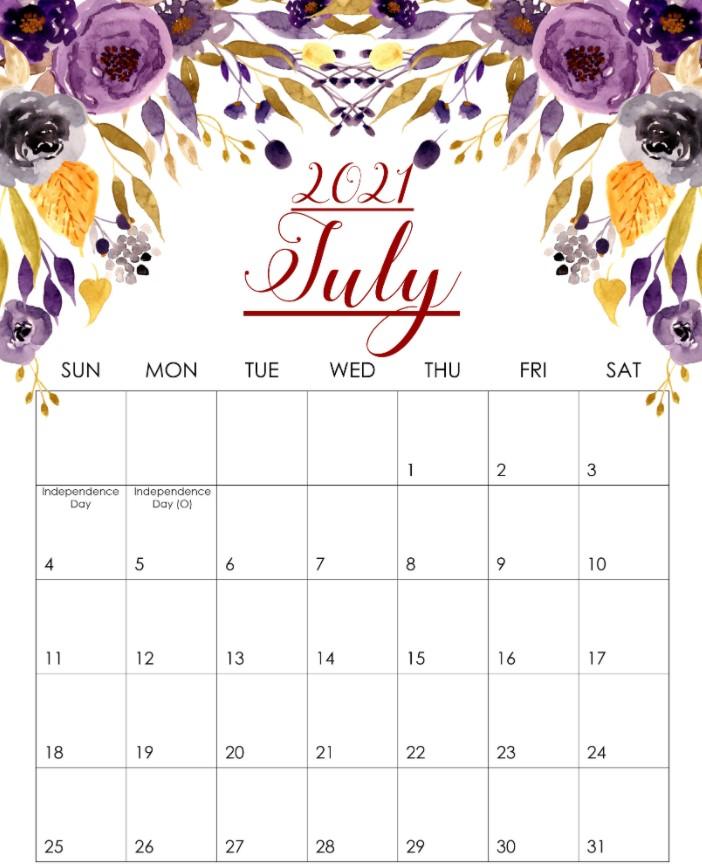 Cute July 2021 Callendar Floral Beauty FLower