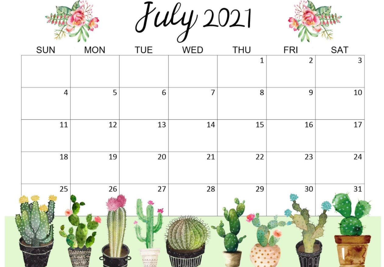 Cute July 2021 Callendar Floral Cactus