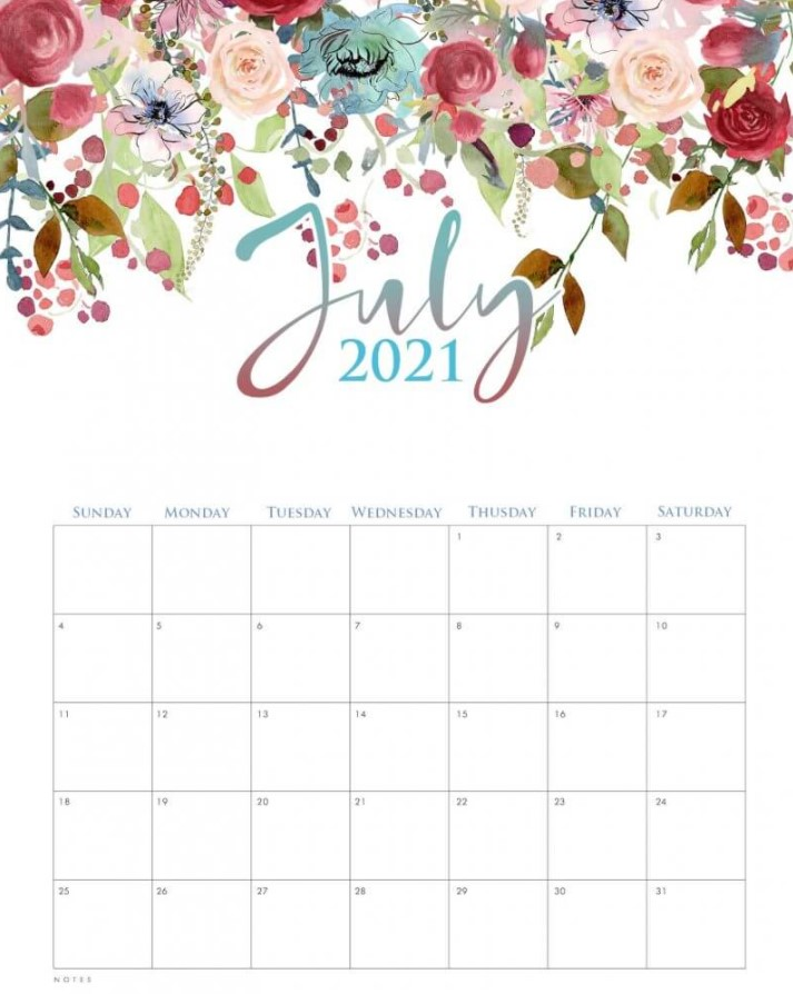 Cute July 2021 Callendar Floral Rose Flower