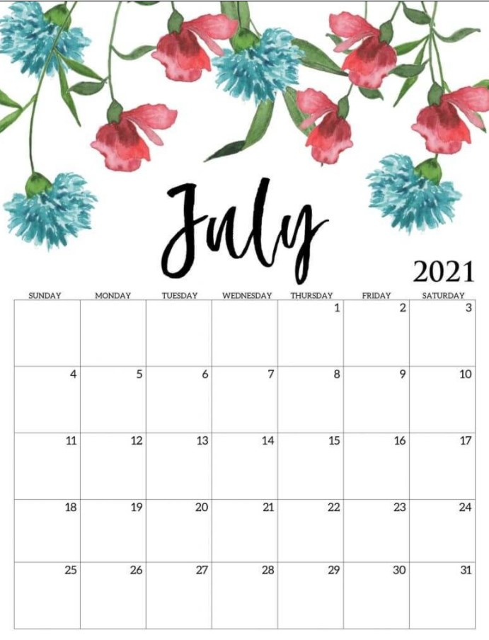Cute July 2021 Callendar Floral Simple
