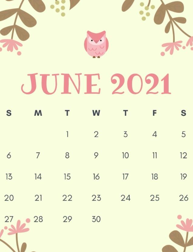 Cute June 2021 Calendar Printable Free FLoral OWL