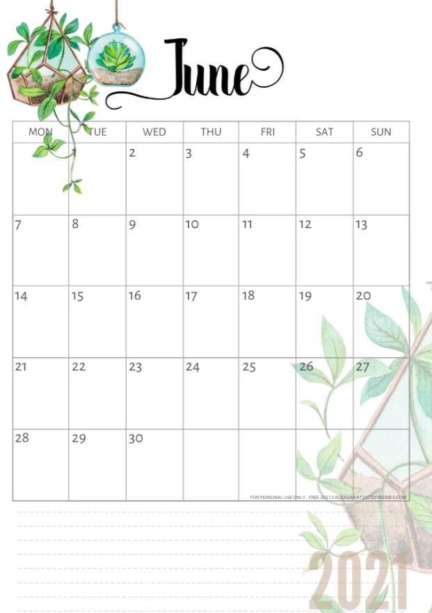 Cute June 2021 Calendar Printable Free Green Floral