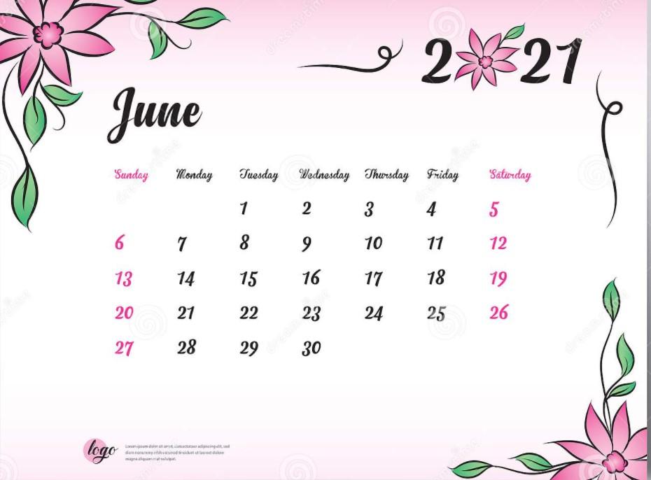 Cute June 2021 Calendar Printable Free Pink Floral