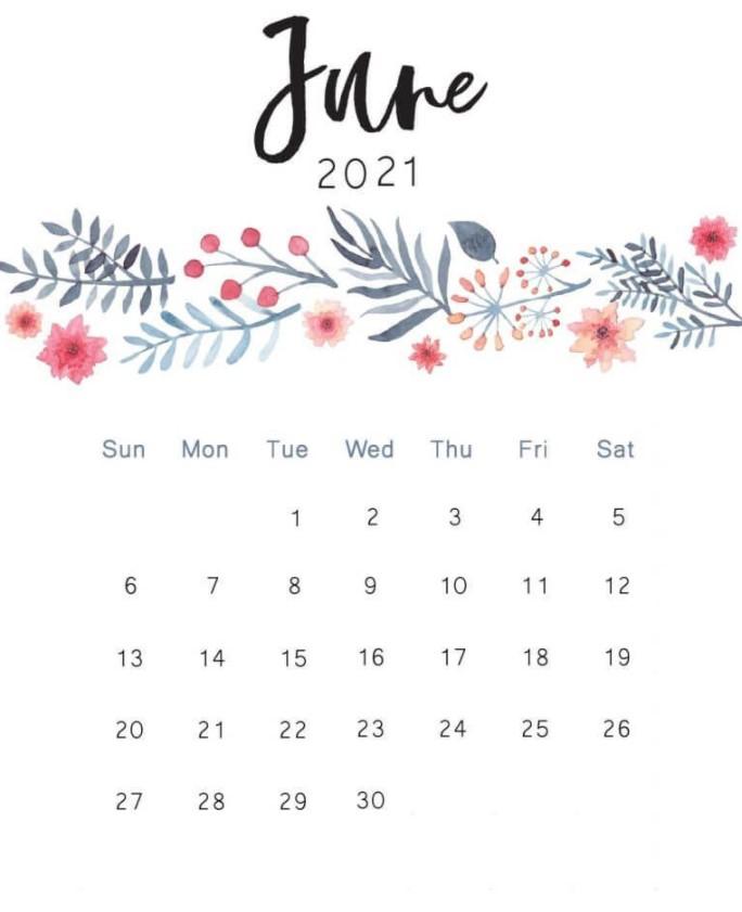 Cute June 2021 Calendar Printable Free Simple Flowers