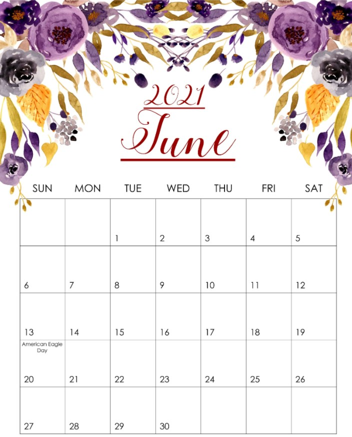 Cute June 2021 Calendar Printable Rose Flowers