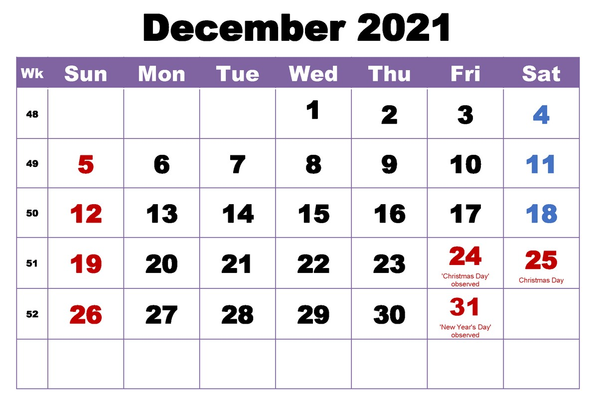 December 2021 Calendar With Holiday