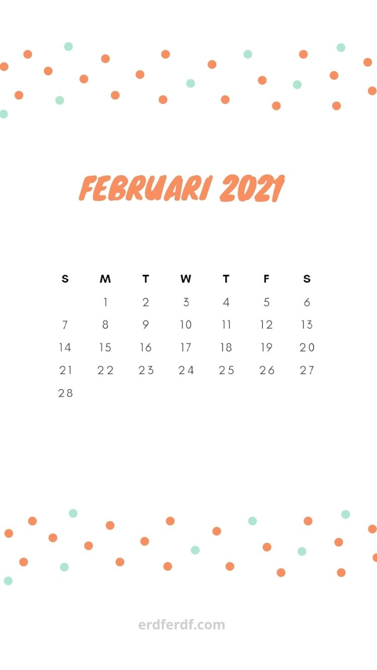 February Iphone calendar 2021 White Background