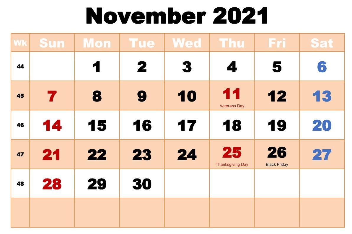 Free Printable November 2021 With Holiday