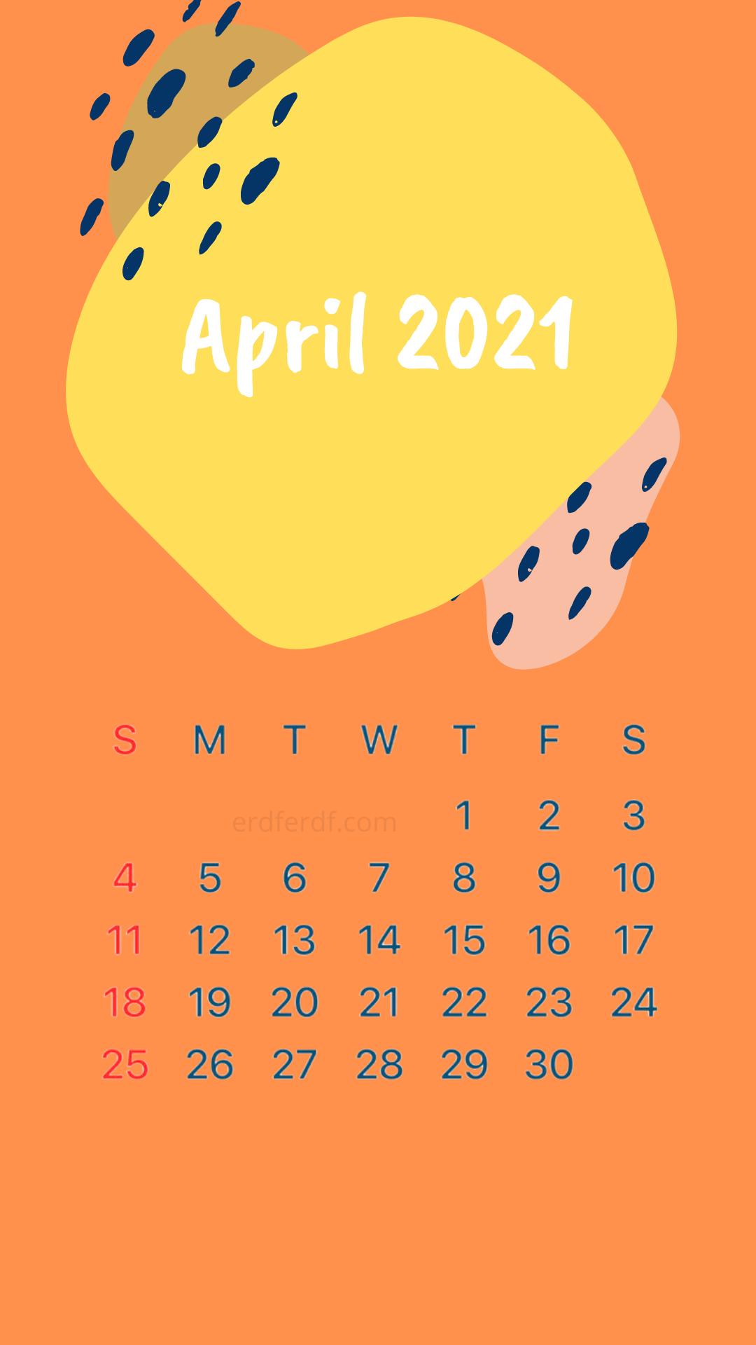 Iphone Wallpaper April 2021 Calendar Orange Dark