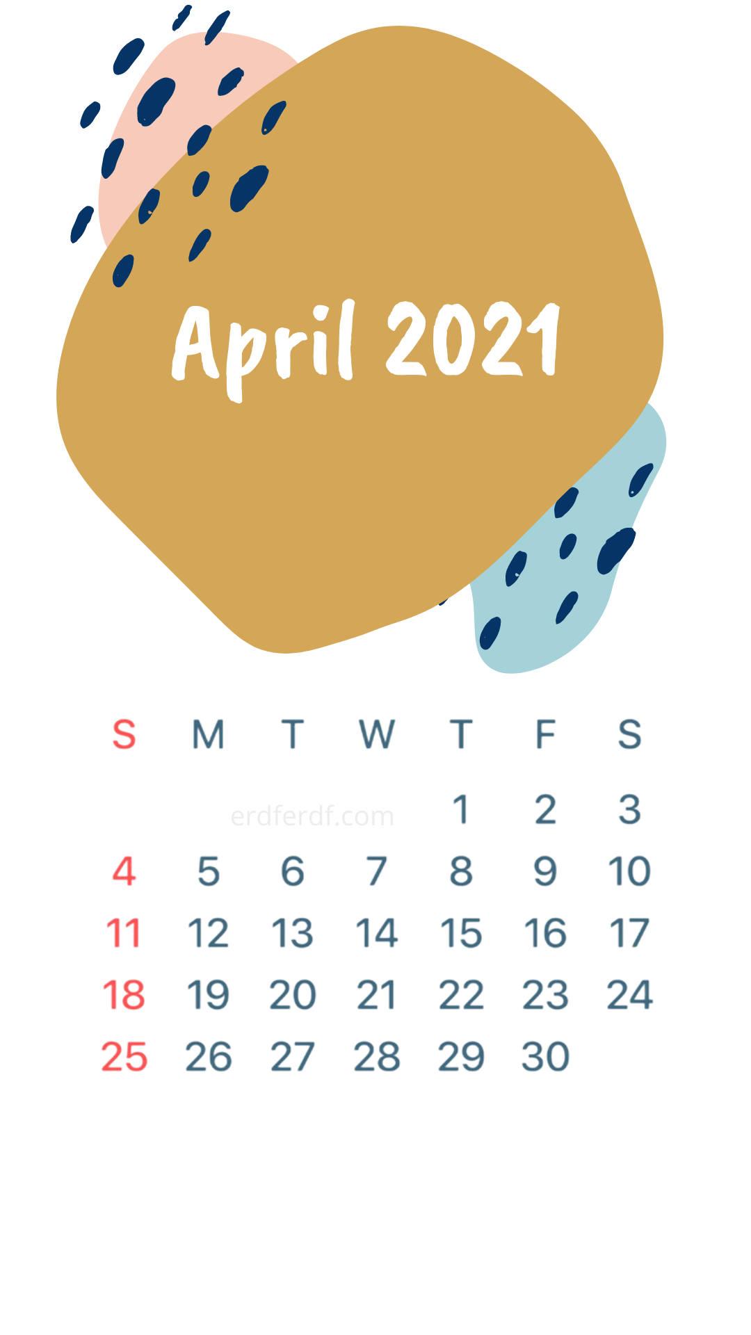 Iphone Wallpaper April 2021 Calendar Smooth With