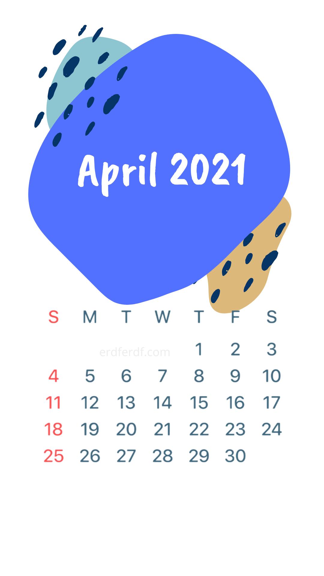 Iphone Wallpaper April 2021 Calendar White