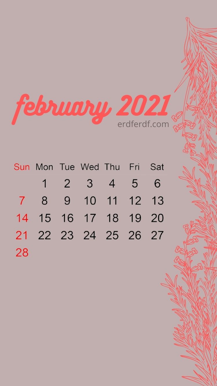 Iphone Wallpaper February 2021 Calendar Smooth Red