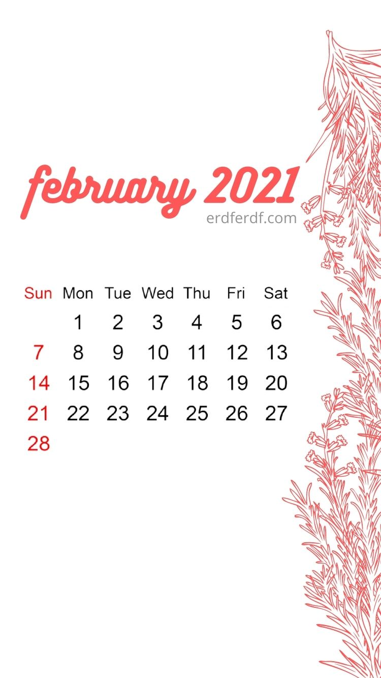 Iphone Wallpaper February 2021 Calendar White