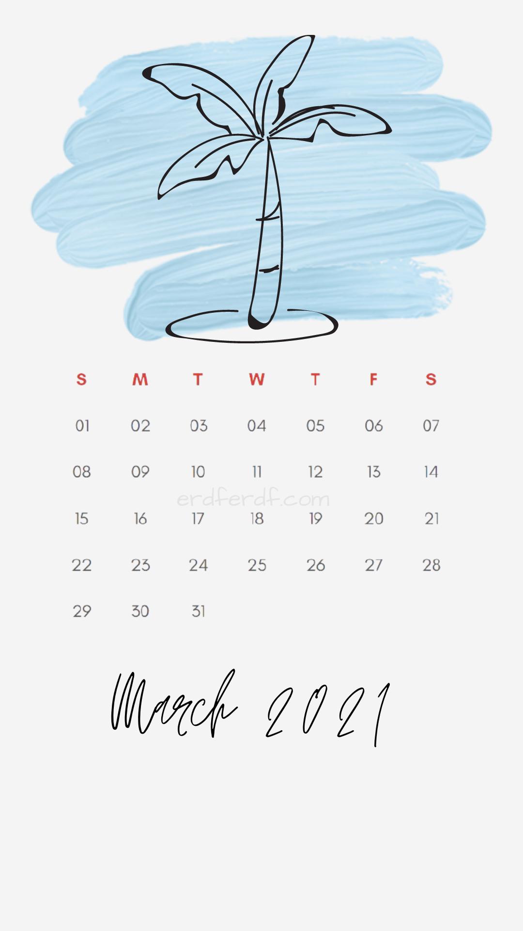 Iphone Wallpaper March 2021 Calendar Free White Banana Tree