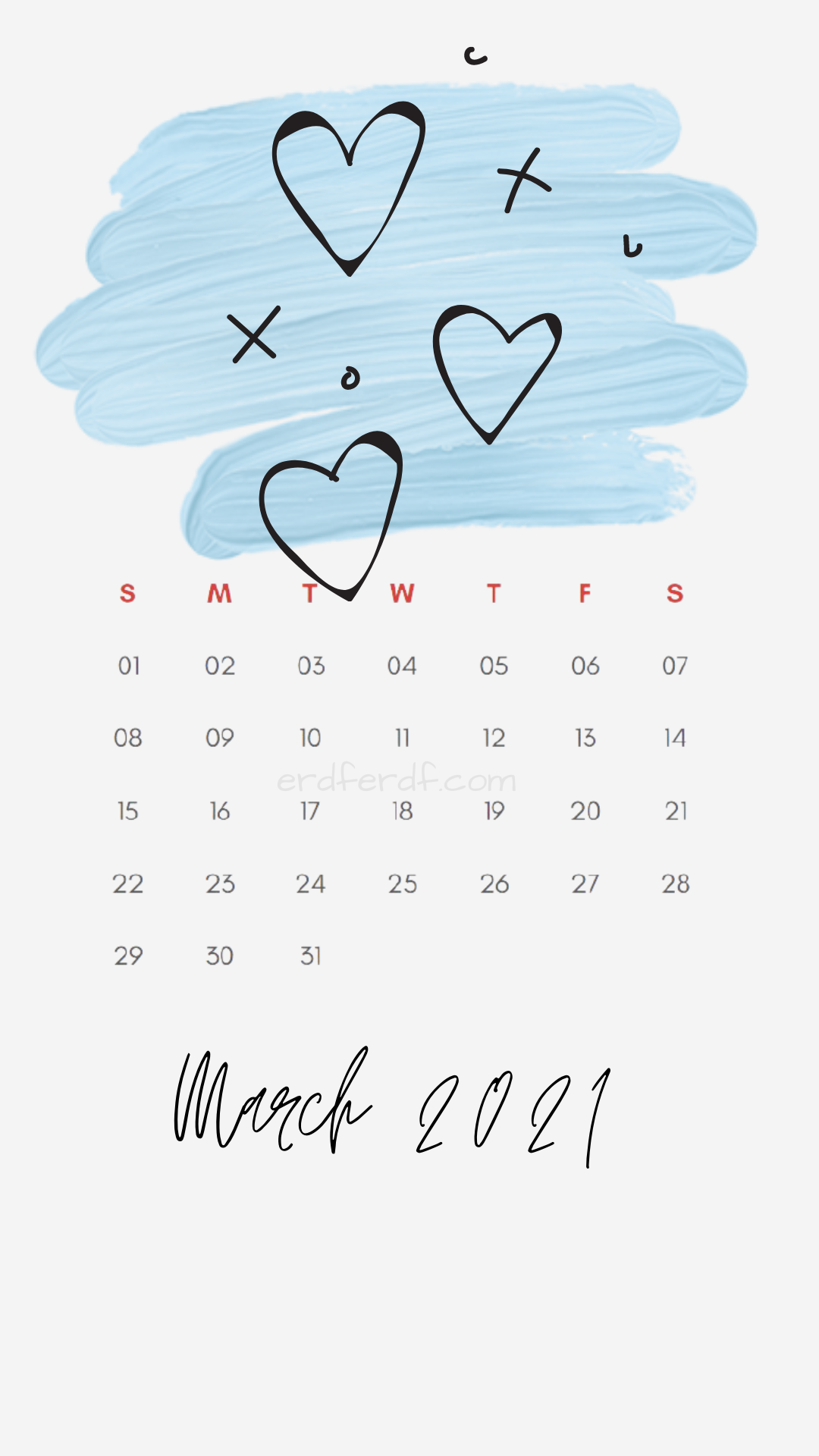 Iphone Wallpaper March 2021 Calendar Free White Love