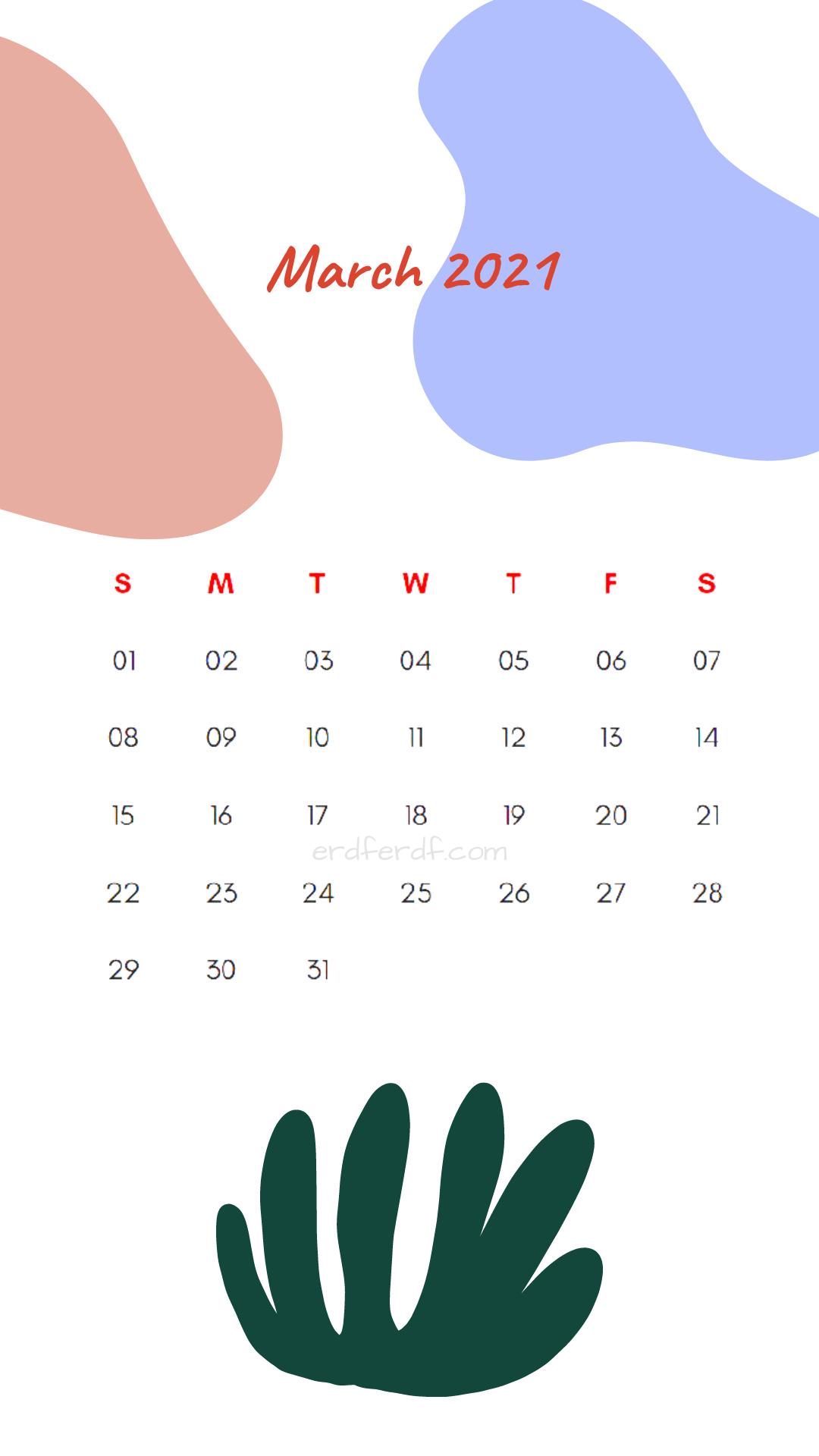 Iphone Wallpaper March 2021 Calendar Free White
