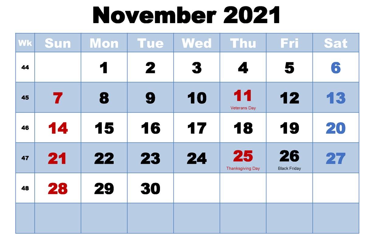 November 2021 CAlendar With Holiday Free Print