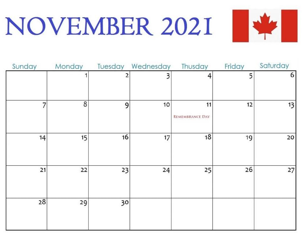 November 2021 Calendar With Holiday Canada Printable