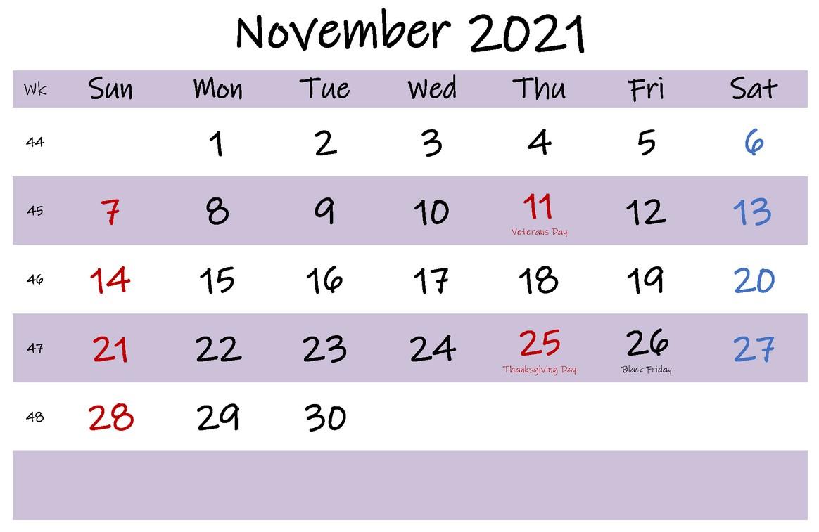 November 2021 Calendar With Holiday Free Printable