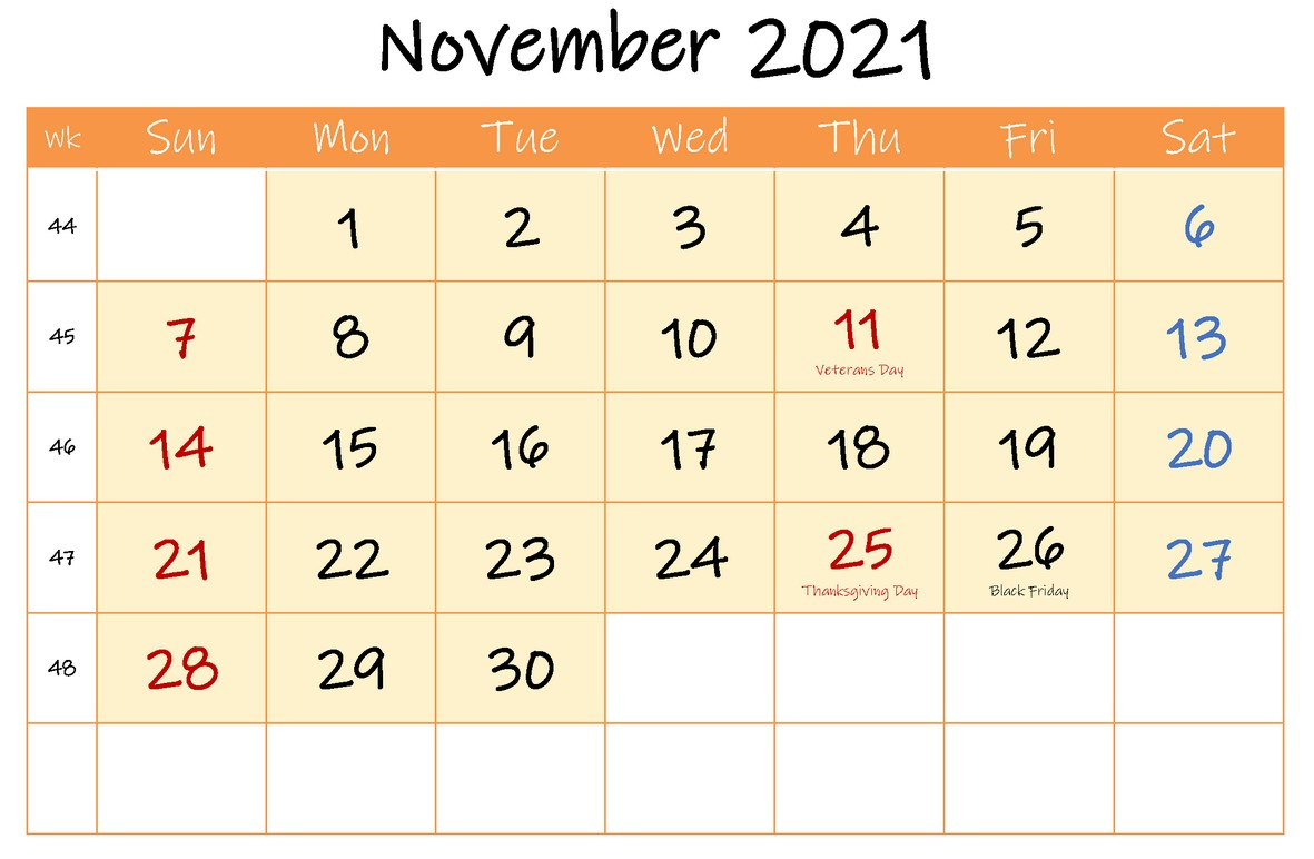 November 2021 Calendar With Holiday Orange Header