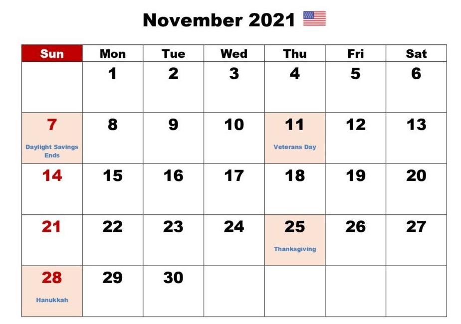 November 2021 Calendar With Holiday US
