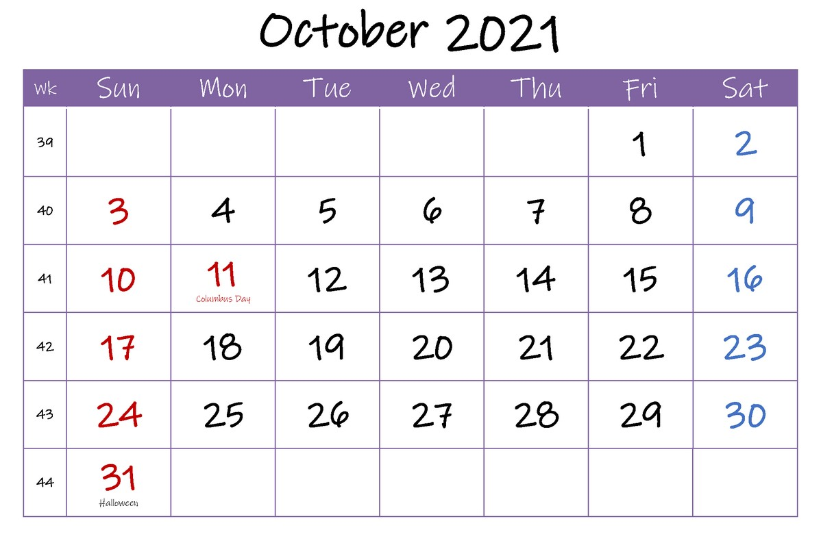 October 2021 Calendar With Holiday 31th Halloween