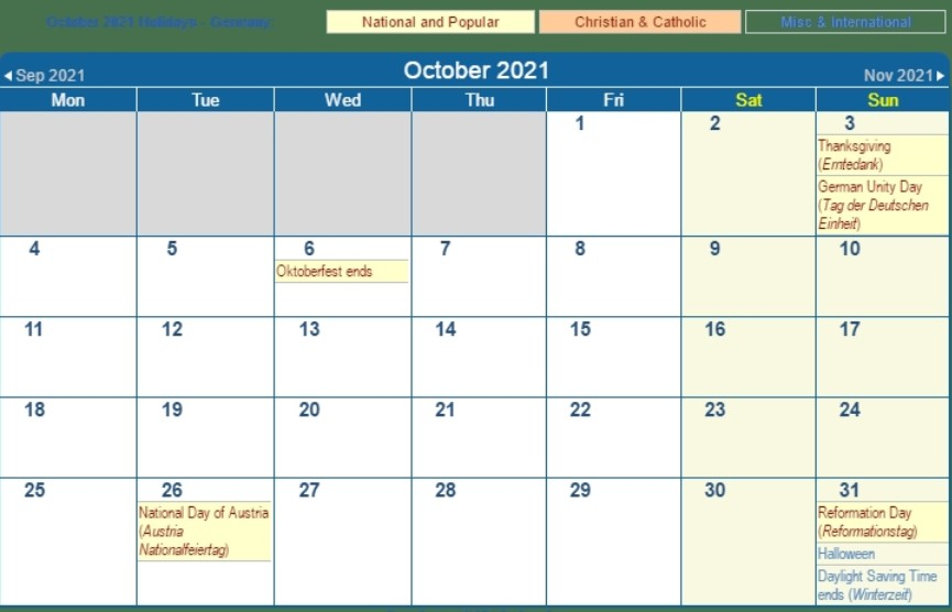 October 2021 Calendar With Holiday Germany