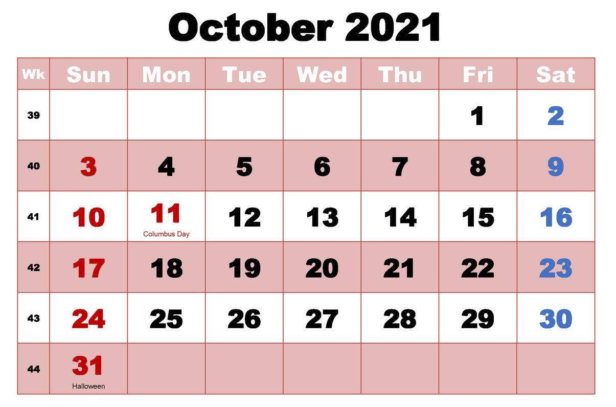 October 2021 Calendar With Holiday Free