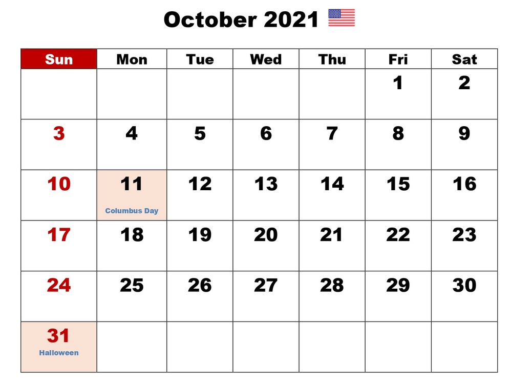 October 2021 Calendar With Holiday in US