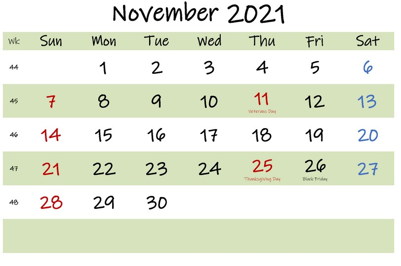 Printable November 2021 Calendar With Holiday