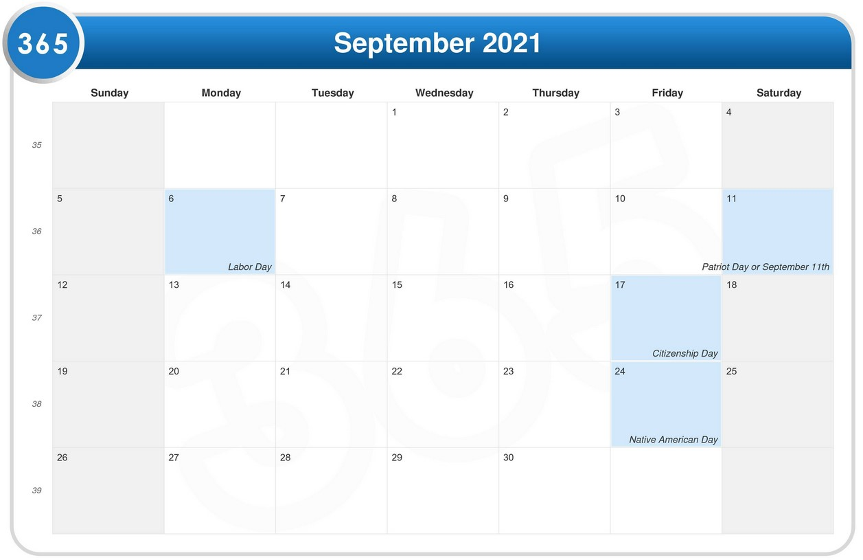 September 2021 Calendar With Holiday