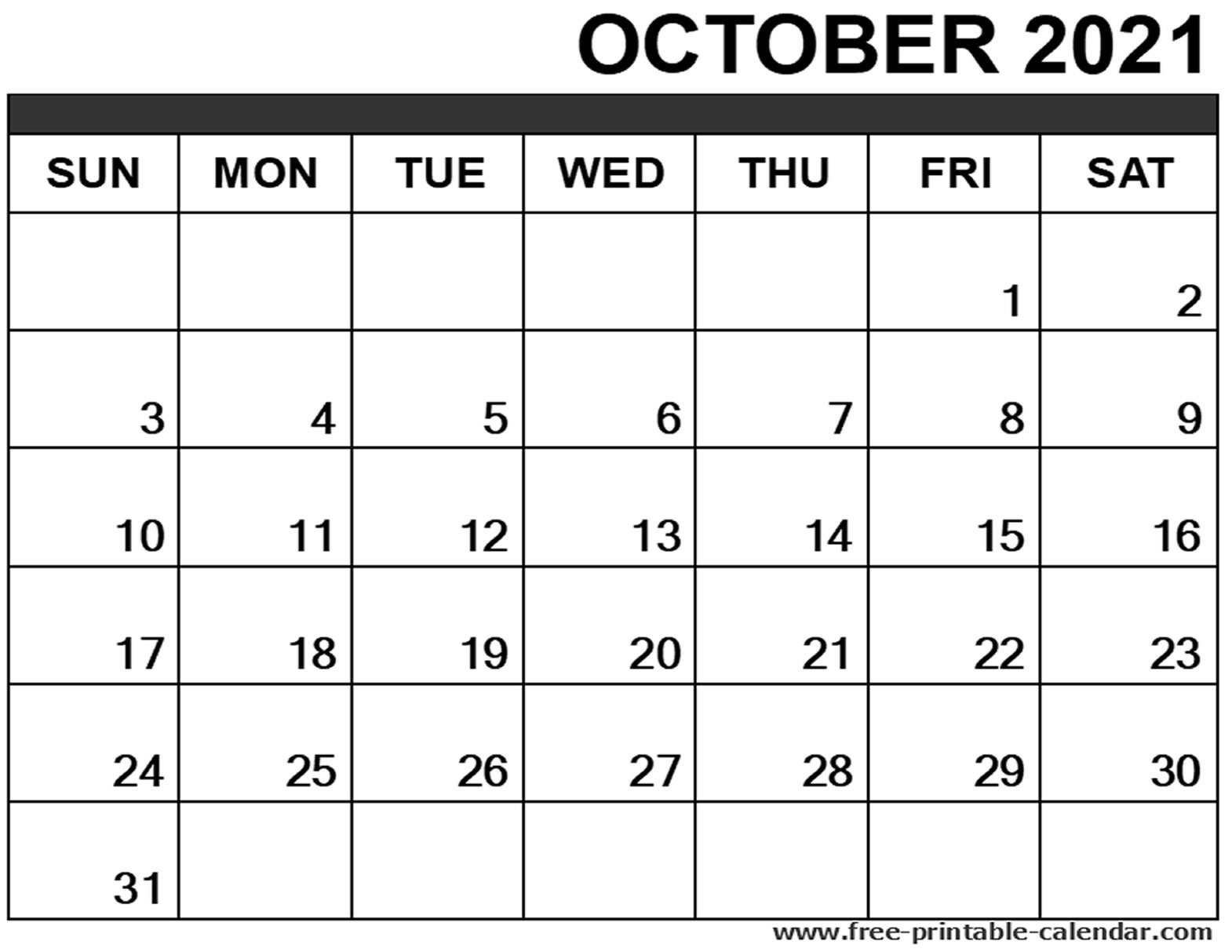 Black header::Blank October 2021 Calendar Printable