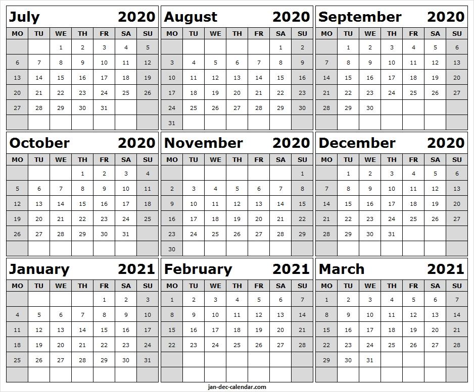 blank calendar july 2020 to march 2021 monthly calendar template::Blank July 2021 Calendar Free