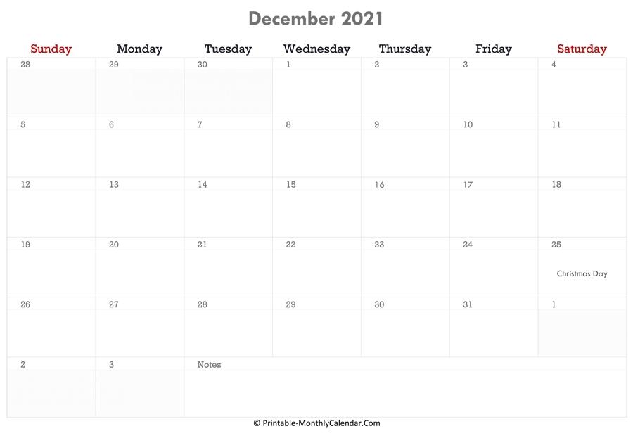 Calendar With Holiday ::Blank Calendar December 2021 Printable Free