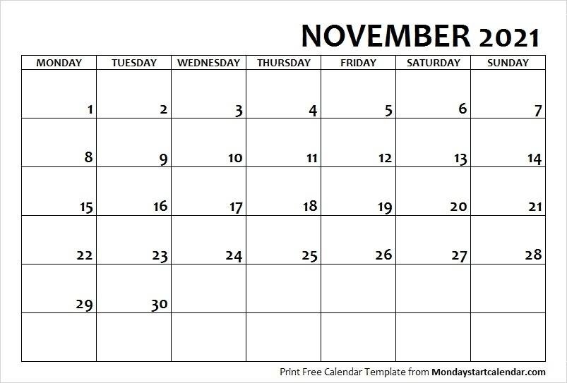 Calvert Giving ::Blank Calendar November 2021 Printable