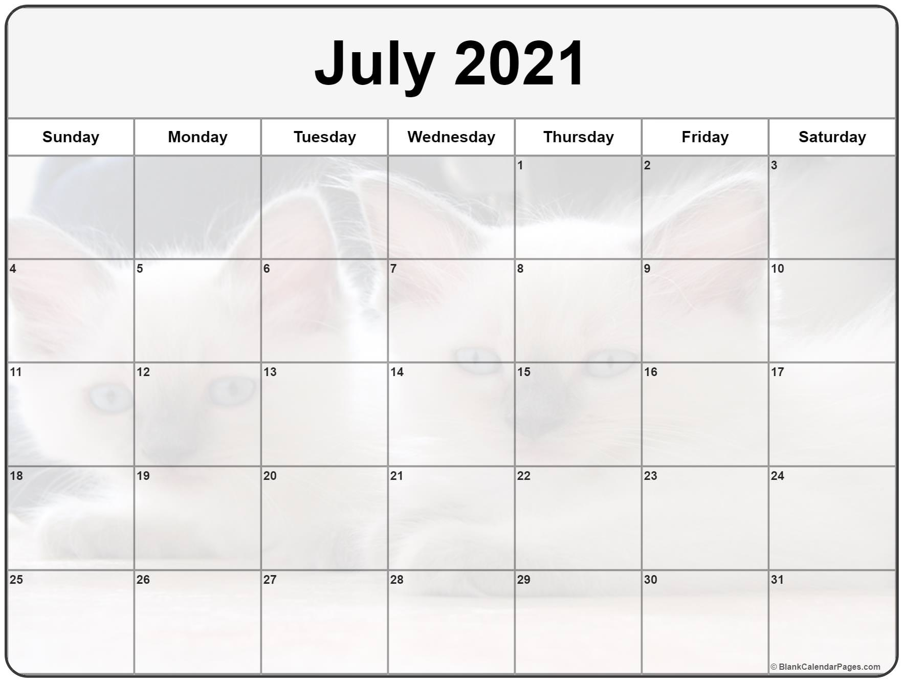 collection of july 2021 photo calendars with image filters::Blank July 2021 Calendar Free