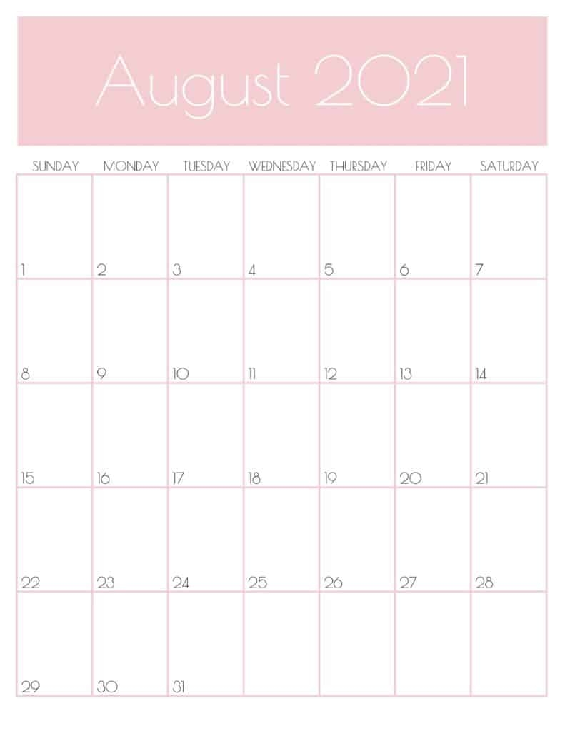 Cute Agust 2021 Calendar Printable