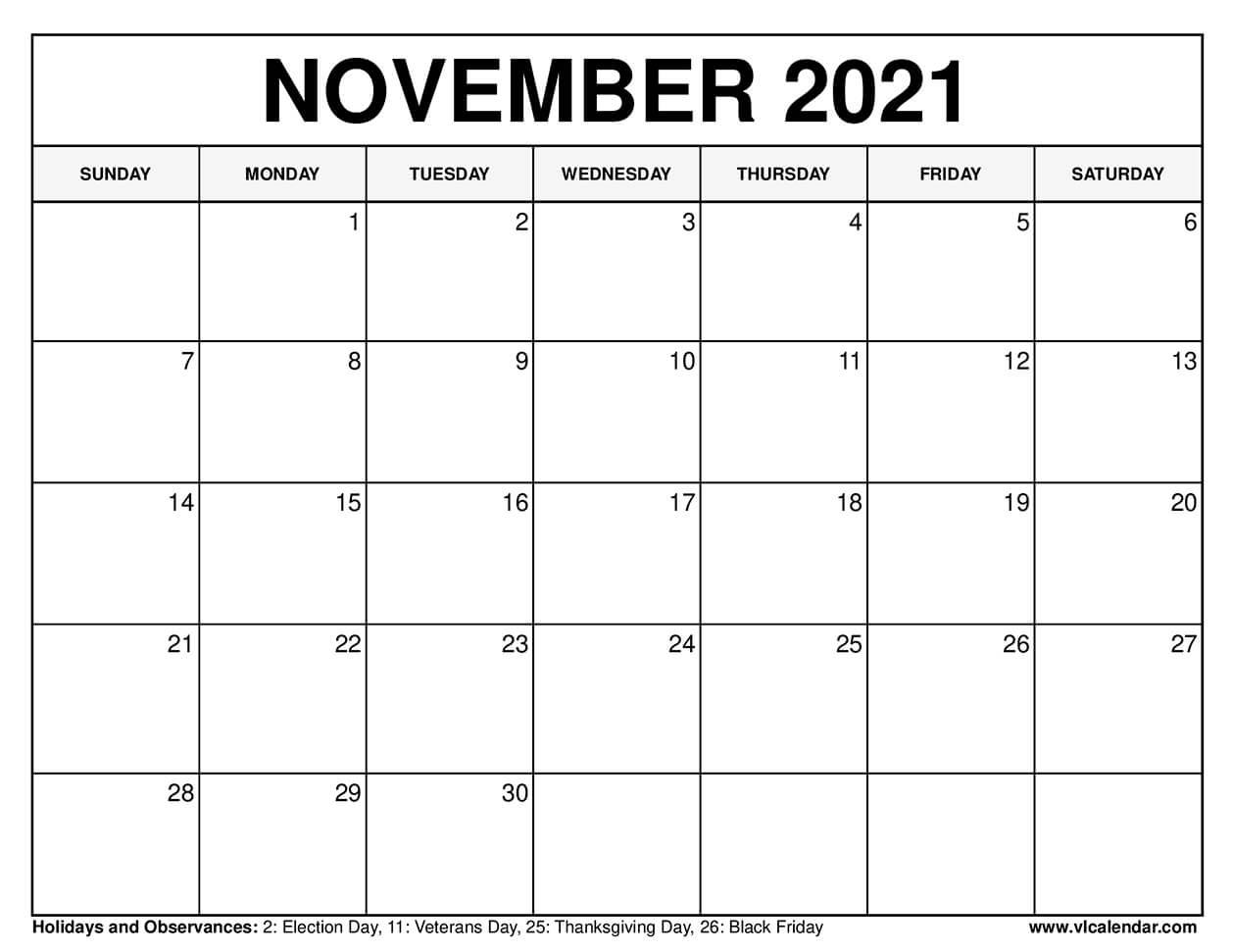 Download ::Blank Calendar November 2021 Printable