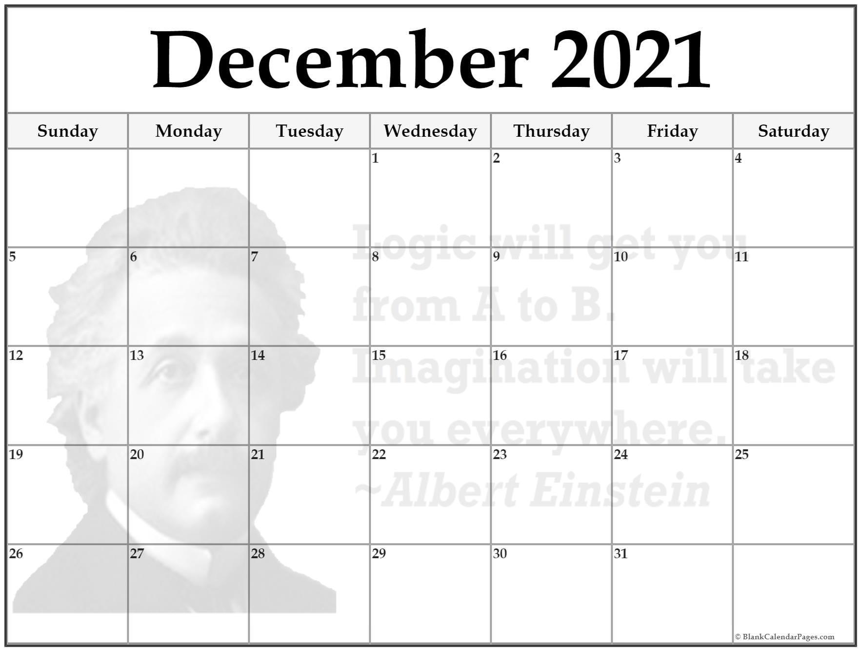 Einstein Quotes ::Blank Calendar December 2021 Printable Free