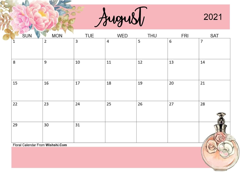 floral august 2021 calendar printable free::Cute Agust 2021 Calendar