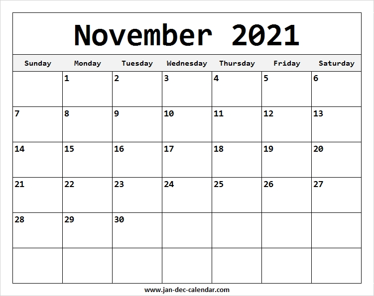 Free ::Blank Calendar November 2021 Printable