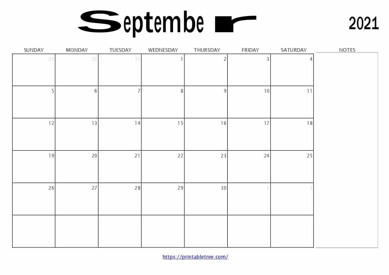 free printable calendar september 2021 pdf templates::September 2021 Calendar With Note